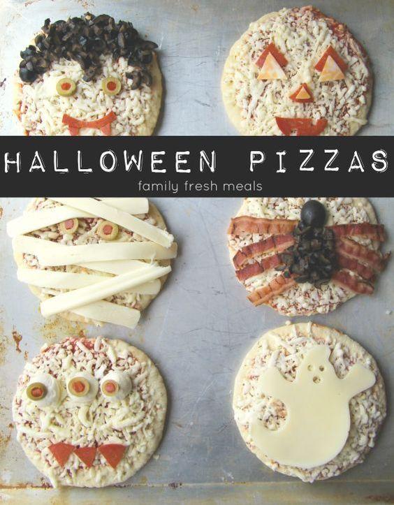 mini pizzas halloween
